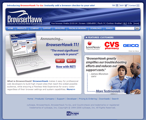 browserhawk home page