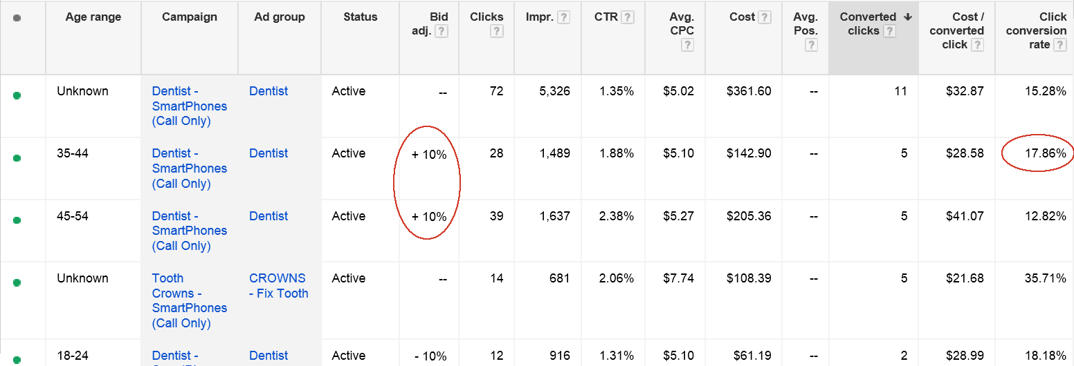 ppc optimization age range targeting